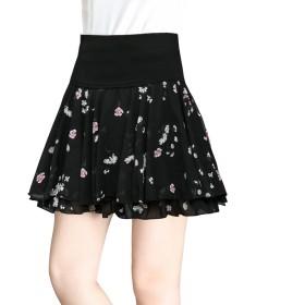 レデース 花柄 スカート プリーツ ミニスカート 春まで待てない ふんわり 可愛い (XL, ブラック6)