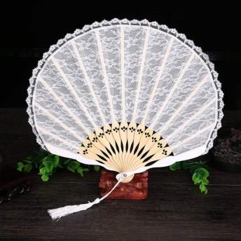 VICOODA 扇子 シェル型 レース エレガント 女性用和装小物 和風 (ホワイト)
