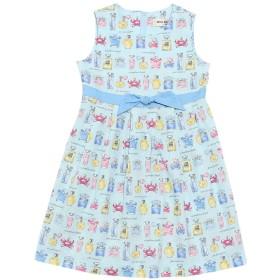 (ムーノンノン) MOONONNON子供服 女の子 ワンピース・ジャンパースカート ノースリーブ 日本製綿100%パフューム 香水柄 リボンつき ブルー 150cm