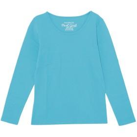 (パークガール)PARK GIRL コットン100%フライス素材無地クルーネック長袖Tシャツ レディース 大きいサイズ S/M/L/LL/3L 5628200000 (3L, マリンブルー)