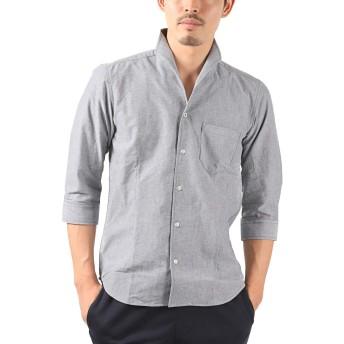 LUX STYLE(ラグスタイル) シャツ メンズ イタリアンカラー トップス 7分袖 綿 無地 グレーL