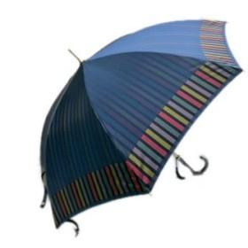 北川商店[キタガワショウテン] 傘 レディース 雨傘 長傘 婦人 甲州産 先染め 朱子格子 軽量 ネイビー