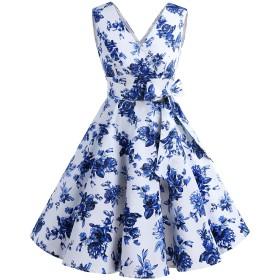 Dresstell(ドレステル) ヴィンテージスタイル スイングワンピース Vネック ベルト付き お呼ばれ 結婚式用ドレス ブルーフラワー Lサイズ