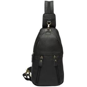 Zhhlinyuan 男性 Soft Cowhide Leather Multi-pocket Shoulder Bag ショルダーバッグ Daypack Cross Body Bag Sling Travel Bag for Mens