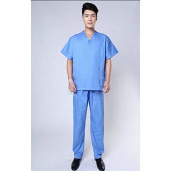 男性用 看護医師 ドクター スクラブ 医療短袖の上着とズボン分体2点セット ユニフォーム ドクター バイオハザード スーツ 分割スーツ 手術室 手術着 メンズ M