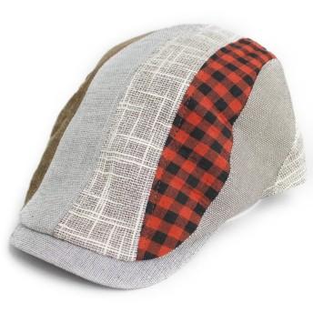 ノーブランド品 ハンチング クレイジーパネル ヘンプ×コットン 帽子 グレー