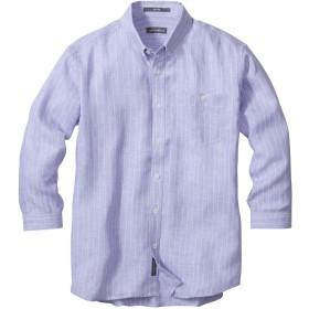 [エディー・バウアー] Eddie Bauer 3/4スリーブイージーケアフレンチリネンドビーストライプボタンダウンシャツ(抗菌防臭加工) 七分袖シャツ メンズ (パープル M)