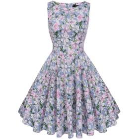 Naughtyspring レディース クラシック オードリーヘップバーン1950年代高品質レトロ花柄 スイング ドレス ワンピース (X-Small, フレッシュな小花)