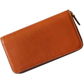 国産栃木レザーの大容量ラウンドファスナー財布 (ブラウン)