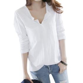 (リスキス) riskiss シンプル カジュアル コットン V ネック ロンT レディース 女性用 長袖 黒 白 M L XL (XL, ホワイト)