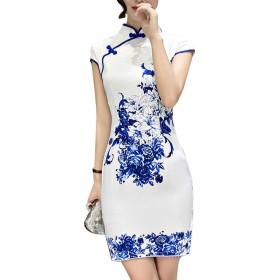 チャイナ ワンピース レディース ミニ 半袖 シルク 花柄 スリット 結婚式 ドレス チャイナドレス 大きいサイズ (S, 青)