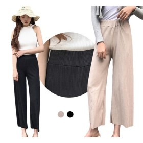 GuDeKeレディース 夏 ソフト ゆったり ガウチョ パンツ シンプル 可愛い 人気 ロング丈 パンツ (ブラック)