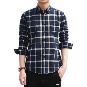 シャツ メンズ 長袖 チェック柄 折り襟 ボタンダウン 多色 クールビジ カジュアルシャツ ダークブルー・ホワイト チェック M