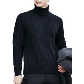 (ネルロッソ) NERLosso セーター タートルネックセーター メンズ ニット メンズセーター 長袖 ニットセーター vネック ケーブル編み メンズスタイル クルーネック ブラック205 XL cmw2464