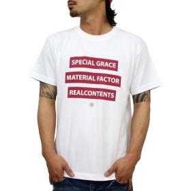 (リアルコンテンツ)REAL CONTENTS tシャツ メンズ 大きいサイズ ティシャツ 半袖Tシャツ トリプル ボックスロゴ BOX logo ストリート 柄 ブランド ロゴ プリント rcst1226 (L, WHITE)
