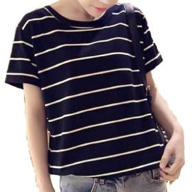 MSP レディース ストライプ シャツ 半袖 Tシャツ ボーダー 縞模様 カットソー トップス (黒 XXL)