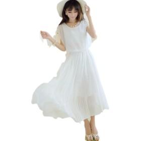(プレイズ)praise マキシ ワンピース ロング ワンピース ドレス シフォン プリーツ パールビーズ (L, 白)
