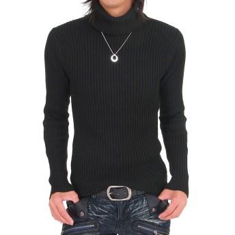 [トップイズム] タートルネック ニット メンズ セーター 2重臼編み タイト 無地 長袖 1-ブラック L