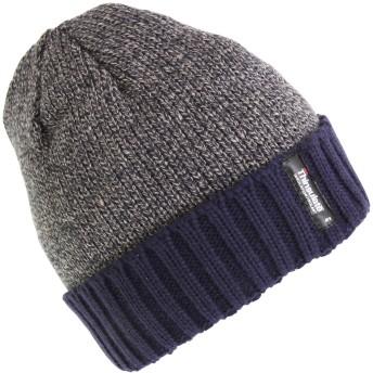 メンズ ヒートガード 断熱 ウインターハット ビーニー帽 ニット帽 キャップ 防寒 冬 (ワンサイズ) (グレー/ブルー)