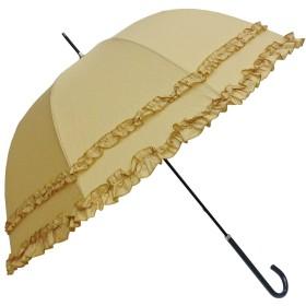 傘 レディース 親骨58cm 無地 ダブルフリル 深張り型 グラスファイバー骨 手開き 雨傘 (ベージュ)