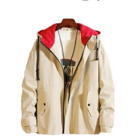 [ディーハウ]トップス ジャケット メンズ アウター コート スプリングコート スポーツファッション 通学 通勤 大きいサイズ おしゃれ 無地 カジュアル 長袖 ゆったり 春秋 きれいめ ベージュ2XL