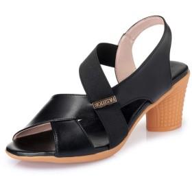 [ジョイジョイ] オフィスサンダル レディース ゴム ハイヒール 7cmアップ ビーチサンダル オープントゥ 歩きやすい 革靴 婦人靴 オシャレ 防滑 パンプス 旅行 ミュール サボ 女の子 大きいサイズ ブラック