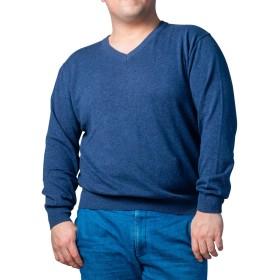 ダブルスタンダード コットン セーター ニット 無地 大きいサイズ 5L 杢ブルー