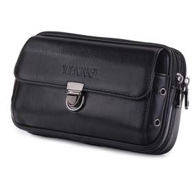 ウエストバッグ レザー メンズ 携帯ケース 本革 ベルトポーチ 軽量 フラップ付き ベルト 携帯バッグ タバコケース 携帯収納 3室 コンパクト ブラック 横型 Mサイズ