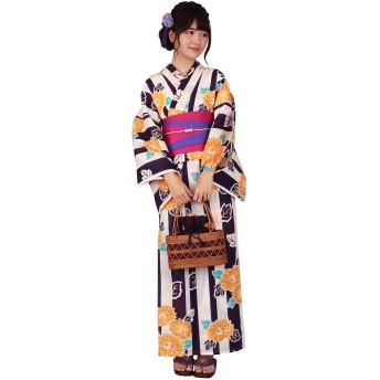 [きもの京小町] 浴衣 3点セット(浴衣 帯 下駄 L) レディース 紫 ストライプ 黄 ひまわり