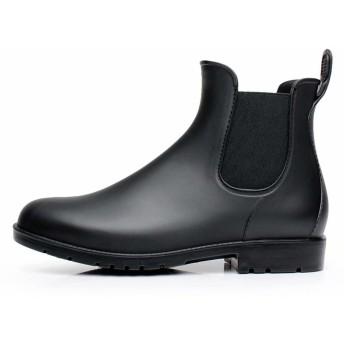 InitialG イニシャルジー レインシューズ レディース サイドゴア レインブーツ ブーティー 雨靴 ショートブーツ 防水 作業靴 008-ym-u102(25 ブラック)