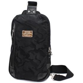 (Marib select) ジャガード迷彩 ボディバッグ 斜めがけバッグ カモフラ 薄マチ カモフラージュ ウレタン入り iPad収納可 ワンショルダー メンズ 鞄 カバン #c268 (カモフラ/ブラック)