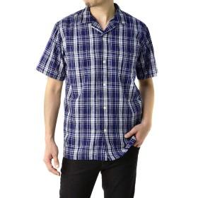 (フラグオンクルー) FLAG ON CREW 開襟シャツ メンズ 半袖 麻混 リネンシャツ ゆったりサイズ 無地 ストライプ / A8N / LL ブルー系チェック・75