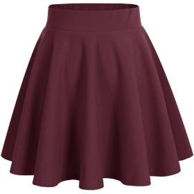 Dresstell(ドレステル) レデース フレア Aライン 無地 美脚 ハイウェスト ミニスカート ワインレッド Sサイズ