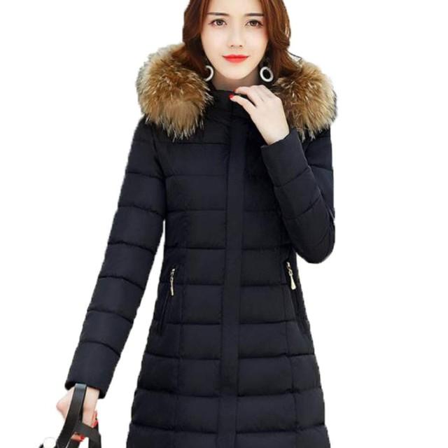 アイビエツ(AIBIETU)レディース 長袖 ファー付き 中綿 ダウン ジャケット カジュアル ファッション 軽くて暖かい ダウンコート 秋冬(ブラックW-1)