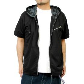 パーカー メンズ 大きいサイズ 半袖 長袖 カモフラ 迷彩 薄手 ジップアップ ゆったり ジップアップパーカー 4L ブラック