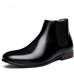 [ジョイジョイ] チェルシーブーツ サイドゴアブーツ メンズ ビジネス スクエアヒール 就活 ドレスシューズ 黒 茶色 ミドルカット カジュアル 本革 定番 滑りにくい 防水 オールシーズン 春 冬 紳士靴