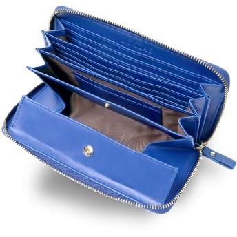 Morina 牛革 長財布 ラウンドファスナー ギャルソンウォレット 大きく開く 小銭入れ メンズ レディース (ブルー)
