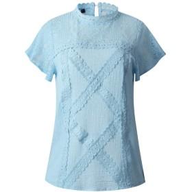 YAXINHE 女性カジュアルレース花ファッション半袖Oネックブラウスシャツ Blue L