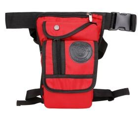 Genda 2Archer(JP) 多機能 ウエストバッグ メンズ 防水 ナイロン ウエストポーチ 男性用 シンプル 小物の収納に便利 レッグバッグ レッグポーチ 腿用 登山 旅行 運動 アウトドア (レッド)