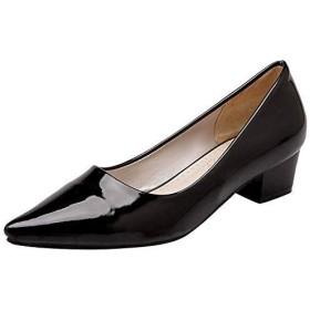 [Charm Foot] レディースシューズ ポインテッドトゥ エナメル調 チャンキーヒール パンプス[3.7cm ヒール] (25.0, ブラック)