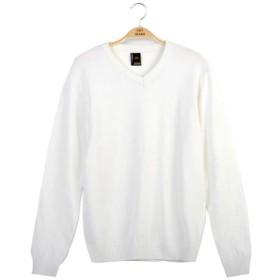 (ネルロッソ) NERLosso セーター メンズ ニット メンズセーター 長袖 ニットセーター vネック ケーブル編み メンズスタイル クルーネック M ホワイト cmc24211-M-wh