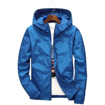 Blissmall ウィンドブレーカー メンズ ナイロン ジャケット 防風 登山 軽量 春秋冬 パーカー スタジアムジャンパー BB7 (M, A-ブルー)