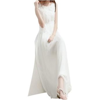 [ルギッドゥ]leguide レディース マキシ ワンピース ノースリーブ ドレス 大きい サイズ ロング お呼ばれ OL きれいめ 綺麗め マタニティ 海辺 リゾート ウェア ネグリジェ ボタニカル ワンピ 着痩せ きやせ 白 しろ 白色 ホワイト M