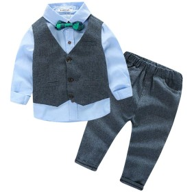 [Y-BOA] 子供服 フォーマルウェア シャツ ベスト ズボン 3点セット スーツ 紳士服 キッズ 男の子 ボーイズ 発表会 入園式 入学式 卒業式 結婚式 ブルー 130