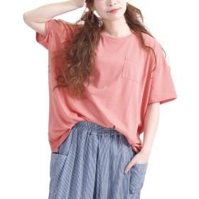 [ゴールドジャパン] 大きいサイズ レディース 胸 ポケット 付き Tシャツ カットソー 半袖 無地 ポケット suri-2149 LL コーラルピンク