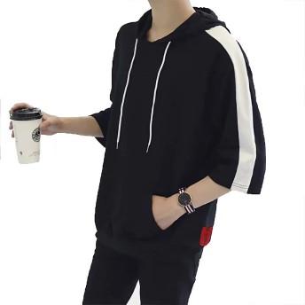 Sukinana パーカー メンズ 7分袖 tシャツ 無地 夏服 ビッグシルエット メンズ 快適 速乾 3色展開 (黒、白、青) M ~ XXL (XL, ブラック)