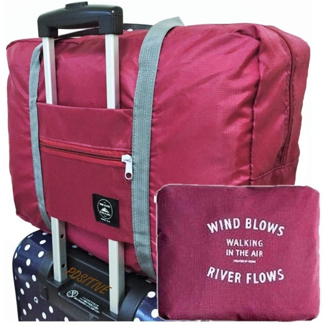 (ポジティブ)折りたたみ ボストンバッグ 機内持込可 スーツケースに固定可 2泊3日分の荷物が入る 旅行バッグ トラベルバッグ 保証書付 (収納ポーチ(ALLワインレッド))