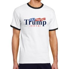 FreedomHip メンズ半袖 リンガーtシャツ Trump 米大統領 ドナルド・トランプ 祝い アメリカ旗 オリジナルプリント カットソー