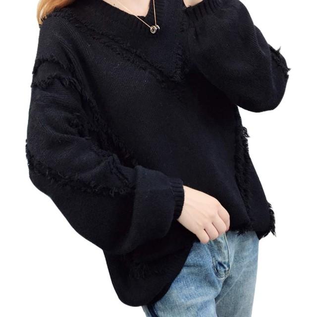 KAWA KANA ニット Vネック 長袖 レディース