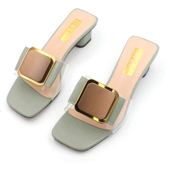 [OceanMap] スクエアトゥ ワンベルト ミュール サンダル レディース ワンベルトサンダル スライドサンダル ミュールサンダル つっかけ 歩きやすい 太ヒール ミュール 美脚 クリアサンダル 痛くない グリーン 脱げない 靴 日常 24.5cm 立ち仕事